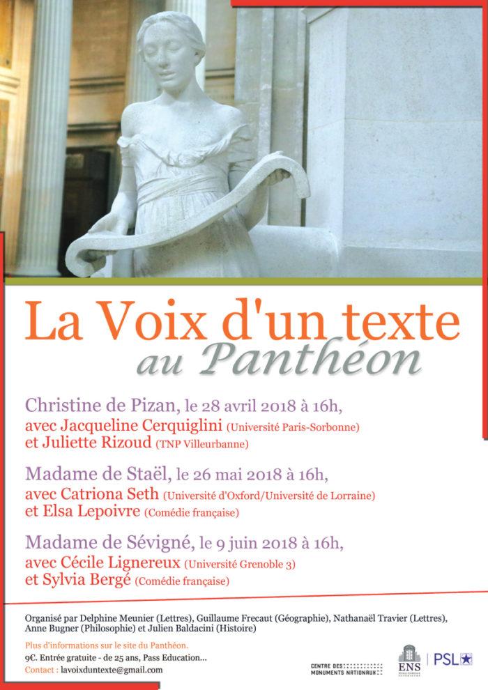 Affiche interne (ENS) - La Voix d'un texte au Panthéon